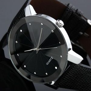Accessories - Black leather quartz movement glass face NWT